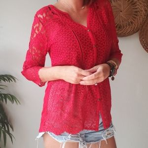 Lucky brand lace scallop edge 3/4 sleeve top